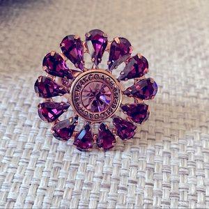 Coach purple rhinestone flower ring sz 7